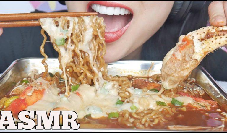 ASMR *NEW SPICY NOODLES RICE CAKES + CHEESY KING CRAB (EATING SOUNDS) NO TALKING | SAS-ASMR