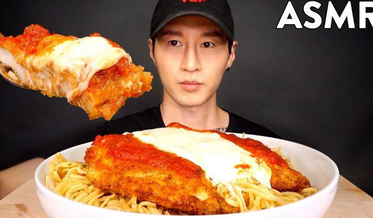ASMR CHICKEN PARMESAN & PASTA MUKBANG (No Talking) COOKING & EATING SOUNDS | Zach Choi ASMR