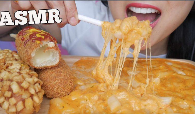 ASMR CHEESY Corndogs + EXTREME CHEESY Rice Cake *Tteokbokki (EATING SOUNDS) NO TALKING | SAS-ASMR