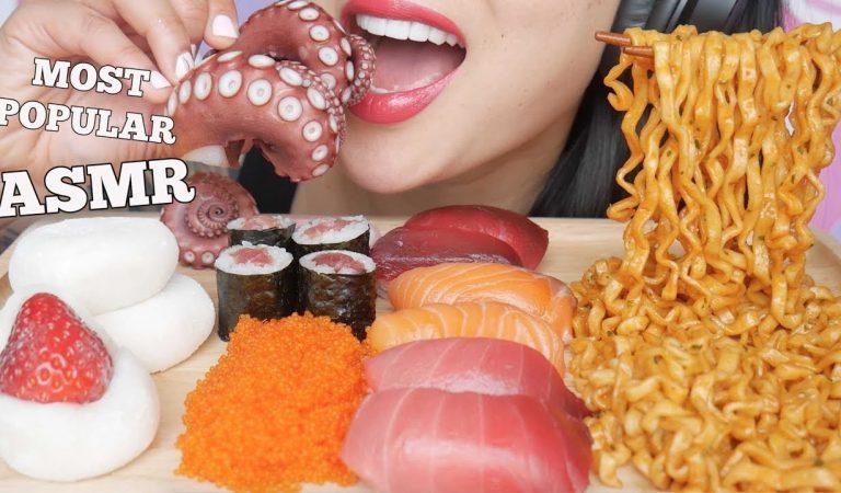 ASMR MOST POPULAR FOOD NOODLES MOCHI SUSHI OCTOPUS (EXTREME EATING SOUNDS) NO TALKING | SAS-ASMR