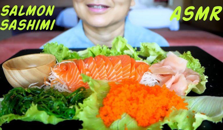 ASMR Salmon Sashimi & Seaweed | แซลมอลดิบ | Eating Sounds | Light Whispers | Nana Eats