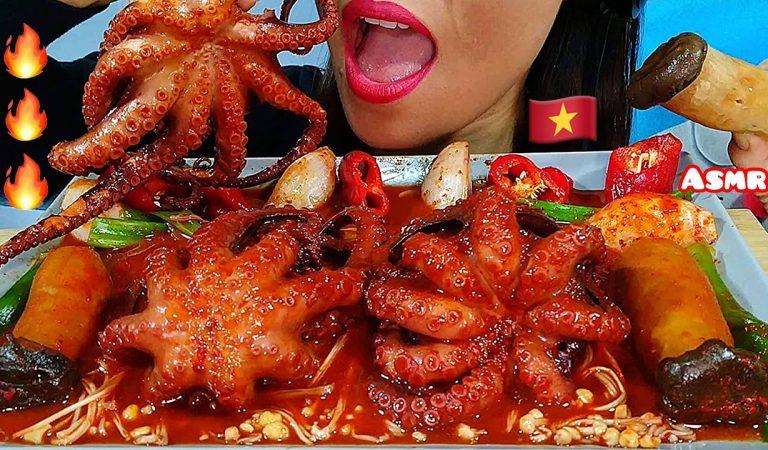 EATING SPICY OCTOPUS GRAPTUS, KING OYSTER MUSHROOMS & ENOKI MUSHROOMS ASMR 먹방 Real Sounds