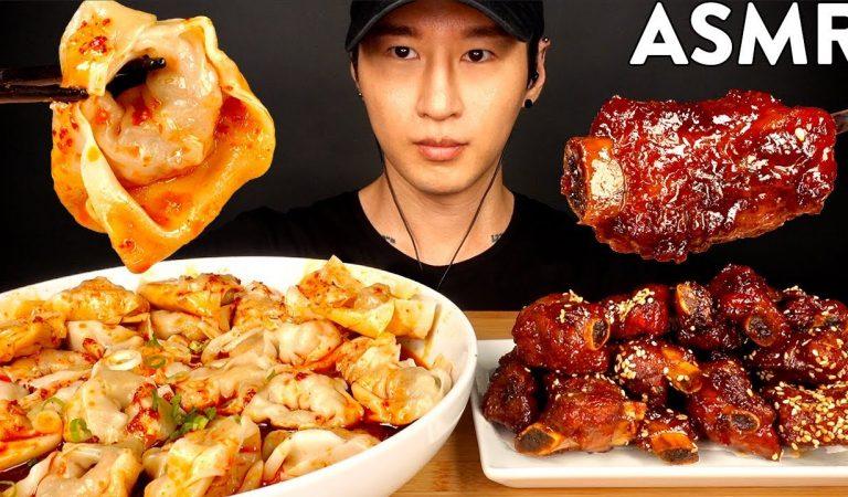 ASMR SPICY WONTONS & SHORT RIBS MUKBANG (No Talking) EATING SOUNDS | Zach Choi ASMR