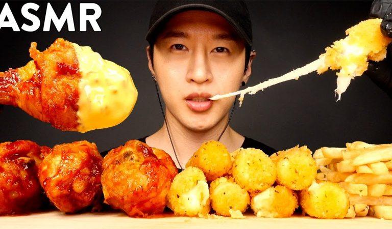 ASMR CHEESY BBQ CHICKEN & MOZZARELLA STICKS MUKBANG (No Talking) EATING SOUNDS | Zach Choi ASMR