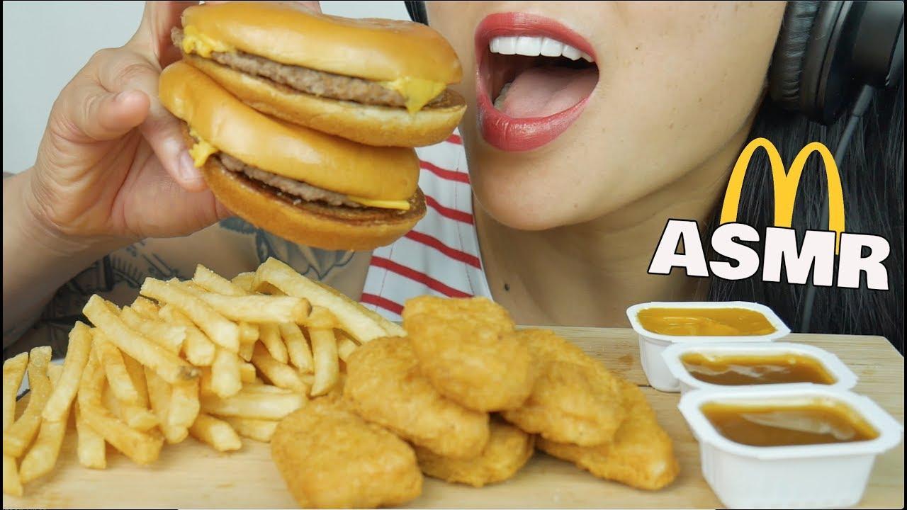 asmr mcdonalds chicken nuggets  cheeseburger eating