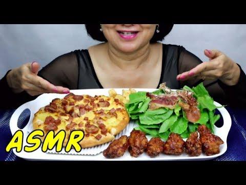 ASMR Hawaiian Pizza | Eating Sounds | Light Whispers | Nana Eats