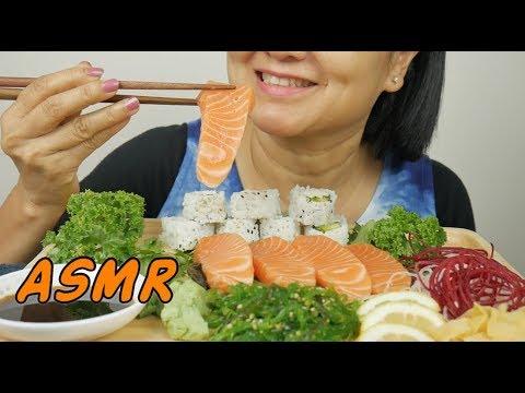 ASMR Salmon Sashimi & Sushi Rolls | Eating Sounds | Light Whispers | Nana Eats