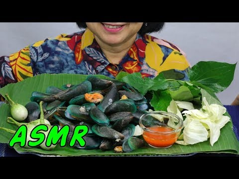 ASMR  New Zealand Mussels | Eating Sounds | Light Whispers | Nana Eats
