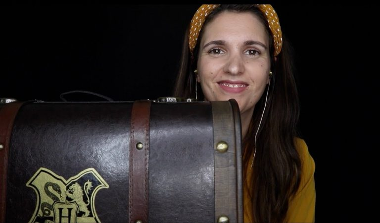 ASMR Unboxing a Hogwarts Personalized Trunk (soft spoken, crinkle sounds, tapping)