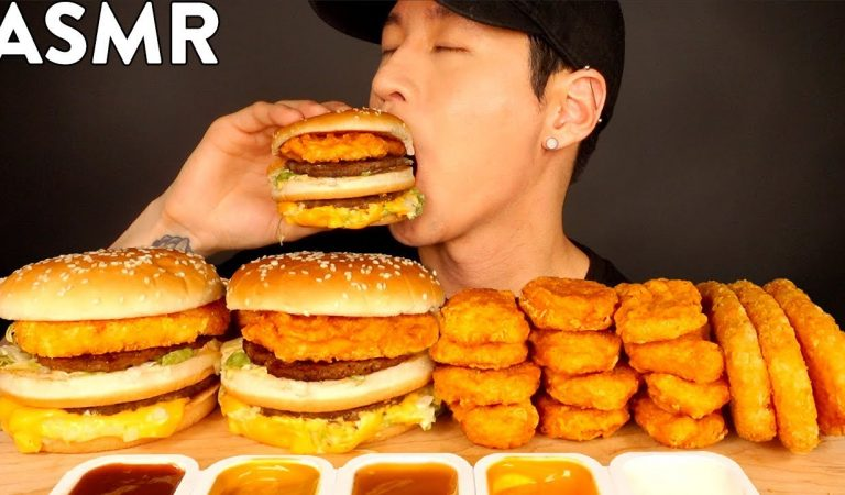 ASMR HASH BROWN & CHICKEN NUGGET BIG MACS MUKBANG (No Talking) EATING SOUNDS   Zach Choi ASMR
