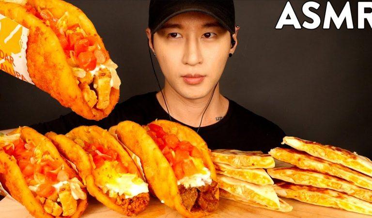 ASMR CHEDDAR CHALUPA & QUESADILLAS MUKBANG (No Talking) EATING SOUNDS   Zach Choi ASMR