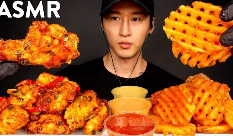 ASMR BBQ CHICKEN WINGS & WAFFLE FRIES MUKBANG (No Talking) EATING SOUNDS   Zach Choi ASMR