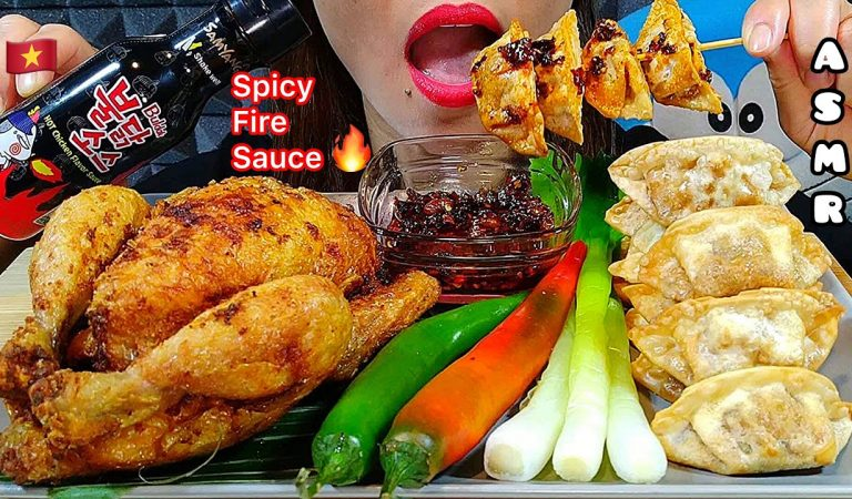 EATING WHOLE FRIED CHICKEN + SPICY FIRE SAUCE + FIRE DUMPLINGS + HOT CHILLI ASMR Real Sounds