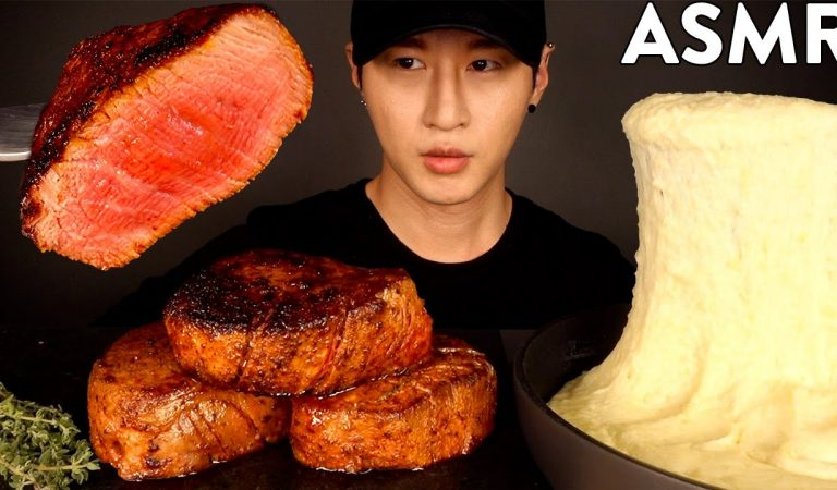 ASMR FILET MIGNON & STRETCHY CHEESE MUKBANG (No Talking) COOKING & EATING SOUNDS | Zach Choi ASMR
