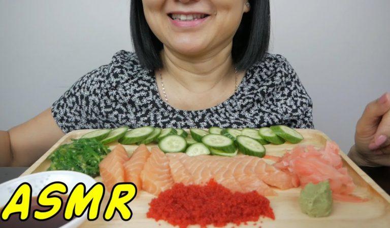 ASMR Atlantic Salmon Sashimi | Eating Sounds | Light Whispers | Nana Eats