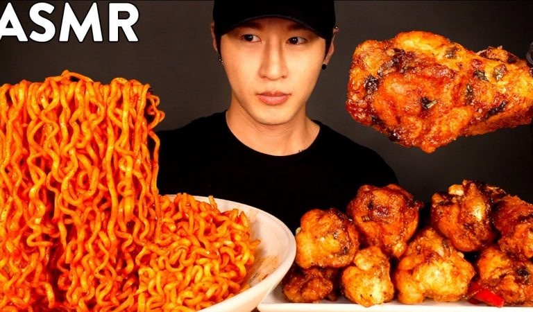ASMR SPICY FIRE NOODLES & CHICKEN WINGS MUKBANG (No Talking) COOKING & EATING SOUNDS
