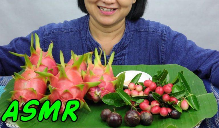 ASMR Dragonfruit, Bengal Currants & Mak Ben   Eating Sounds   Light Whispers   Nana Eats