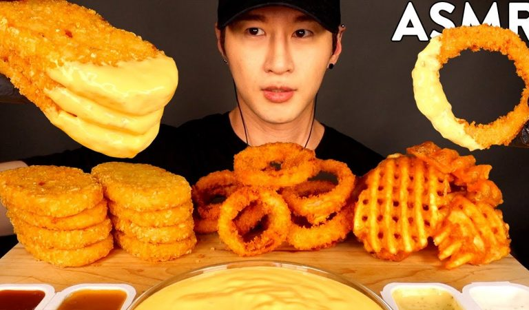 ASMR CHEESY HASH BROWNS, ONION RINGS & WAFFLE FRIES MUKBANG (No Talking) EATING SOUNDS