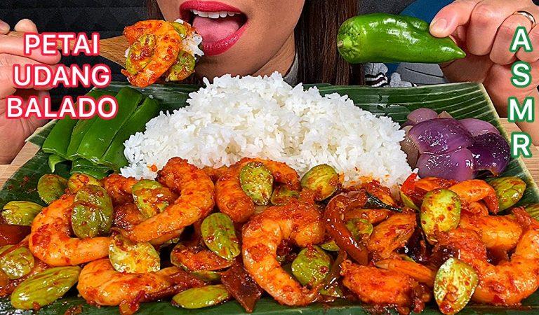 EATING CHILI SHRIMPS + BITTER BEANS *PETAI UDANG BALADO* ASMR Eating Sounds