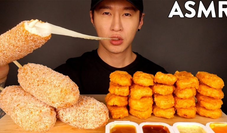 ASMR MOZZARELLA CORN DOGS & CHICKEN NUGGETS MUKBANG (No Talking) EATING SOUNDS | Zach Choi ASMR