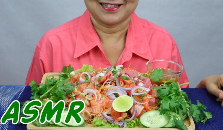 ASMR Salmon & Tuna Sashimi Salad | Eating Sounds | Light Whispers | Nana Eats