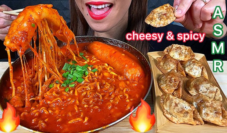 EATING CHEESY SPICY GIANT RICE CAKE, FIRE NOODLES, GIANT SAUSAGE & FIRE DUMPLINGS ASMR Eating Sounds