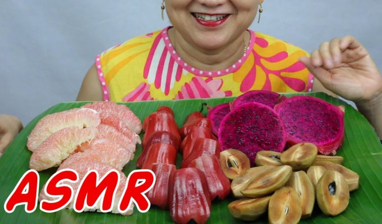 ASMR Thai Fruits featuring the Crimson Dragonfruit ++ | Eating Sounds | Light Whispers | Nana Eats