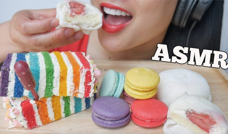 ASMR RAINBOW CAKE + SNOW BALL MOCHI + MACARON (SOFT RELAXING EATING SOUNDS) NO TALKING | SAS-ASMR