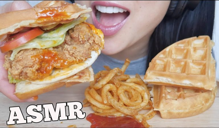 ASMR A&W SPICY CHICKEN WAFFLE SANDWICH BURGER + CURLY FRIES (EATING SOUNDS) NO TALKING | SAS-ASMR