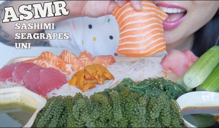 ASMR SALMON + TUNA SASHIMI + SEAGRAPES + UNI (EATING SOUNDS) NO TALKING | SAS-ASMR