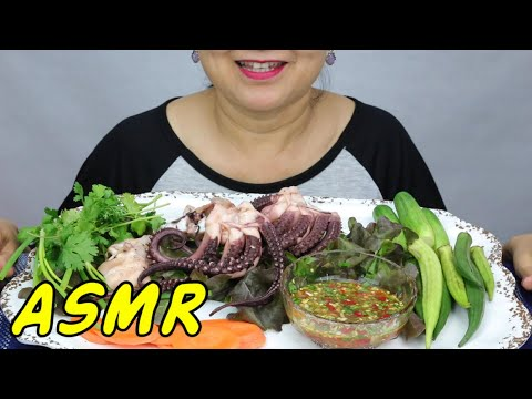 ASMR • Steamed Octopus with Spicy Seafood Dip • Eating Sounds • Light Whispers • Nana Eats