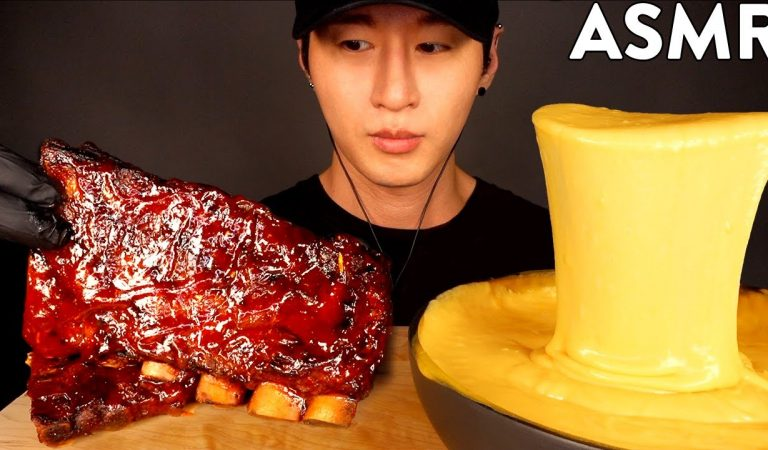 ASMR BBQ BABY BACK RIBS & STRETCHY CHEESE FONDUE MUKBANG (No Talking) EATING SOUNDS | Zach Choi ASMR