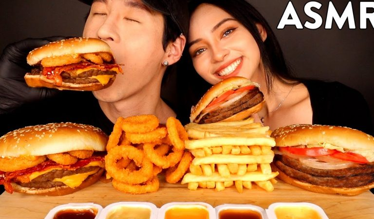 ASMR with ALEX (Double Cheeseburger, Impossible Burger, Onion Rings, Fries) MUKBANG