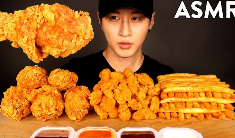 ASMR SPICY FRIED CHICKEN, FRIED SHRIMP & FRIES MUBANG (No Talking) EATING SOUNDS | Zach Choi ASMR