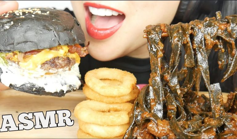 ASMR SQUID INK FETTUCCINE + ONION RINGS + CHEESE BURGER (EATING SOUNDS) NO TALKING | SAS-ASMR