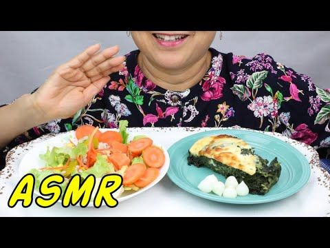 ASMR • Spinach Pie au Gratin & Garden Salad • Eating Sounds • Light Whispers • Nana Eats