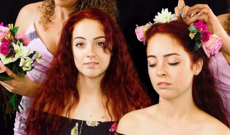 Beautiful ASMR Hair Styling w/ Flowers – Corrina & Lexi
