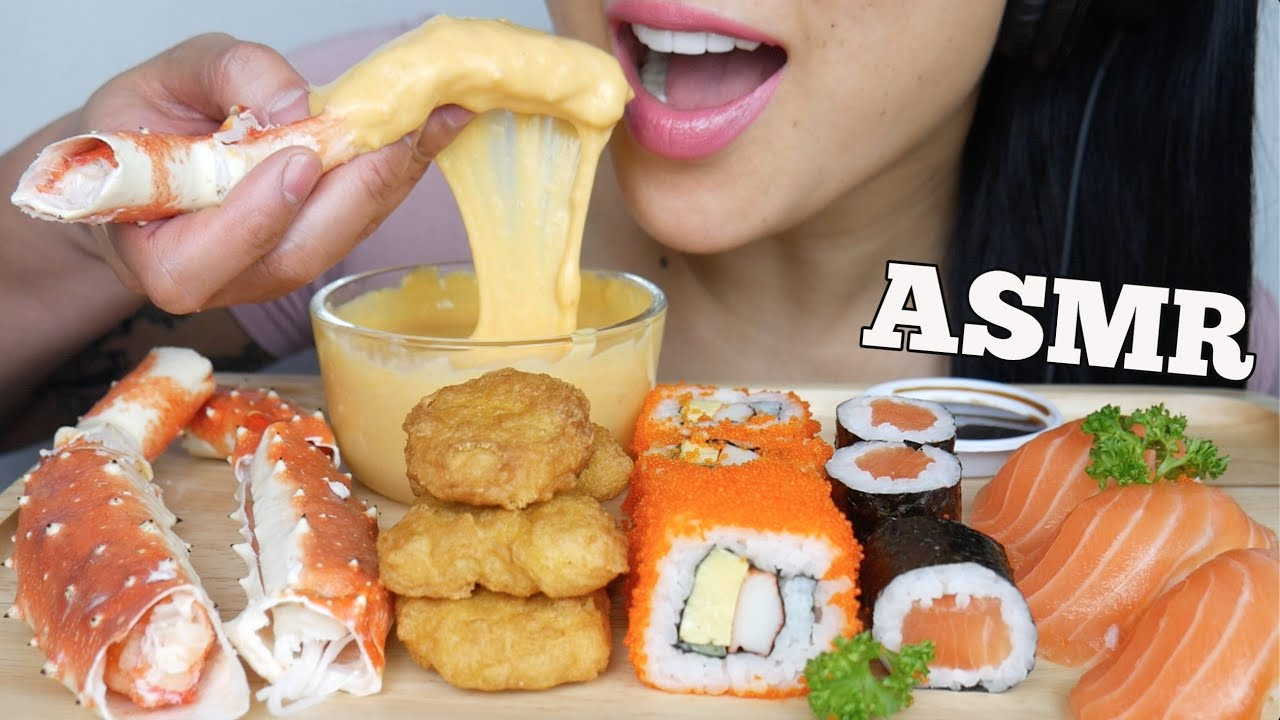 Asmr Buffet Style King Crab Cheese Sauce Sushi Chicken Nuggets Eating Sounds No Talking Sas Asmr Asmrhd Everyone has a different asmr triggers. asmr buffet style king crab cheese
