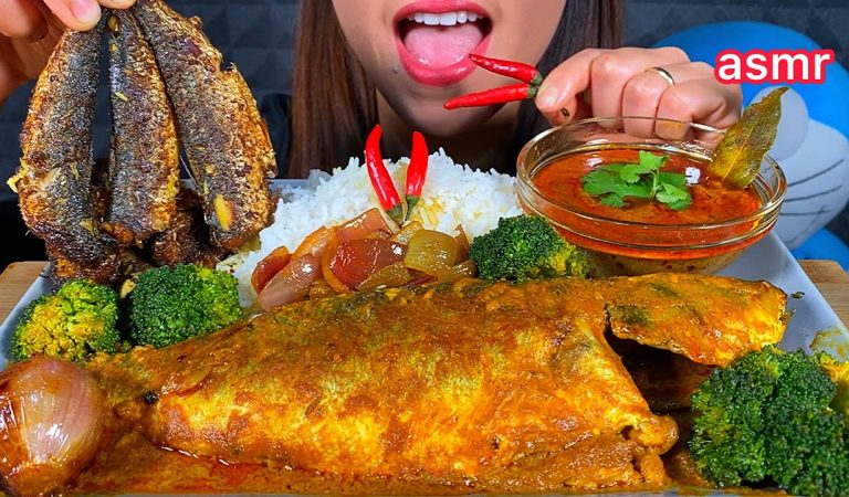 EATING BIG FISH CURRY FRIED FISH CHILLI BROCCOLI ONION RICE ASMR Sounds RODE NT5 MIC TEST