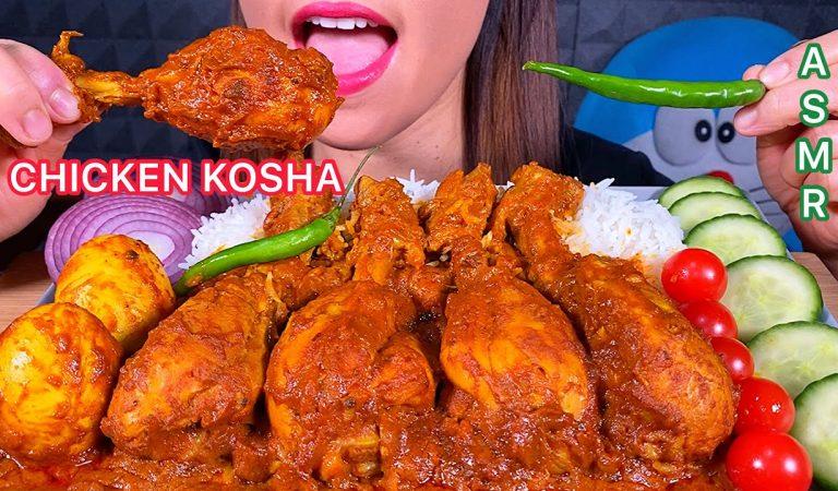 EATING SPICY CHICKEN KOSHA EGG HOT CHILI TOMATOES ONION CUCUMBERS & RICE ASMR 먹방 Sounds