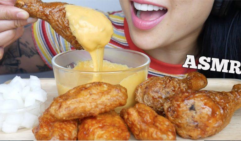 ASMR KOREAN *BONCHON FRIED CHICKEN + CHEESE FONDUE (EATING SOUNDS) NO TALKING | SAS-ASMR