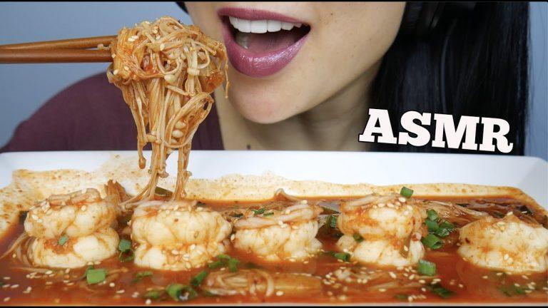 ASMR SPICY ENOKI MUSHROOMS + PRAWNS (EATING SOUNDS) | SAS