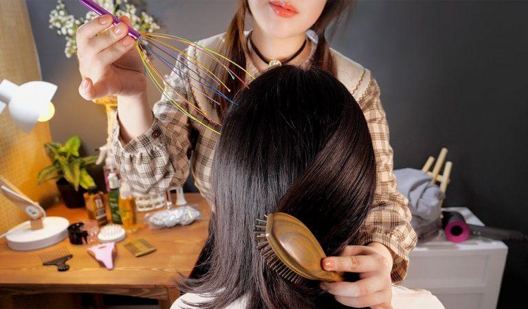 ASMR Hair Brushing & Scalp Massage on Real Head💆👩