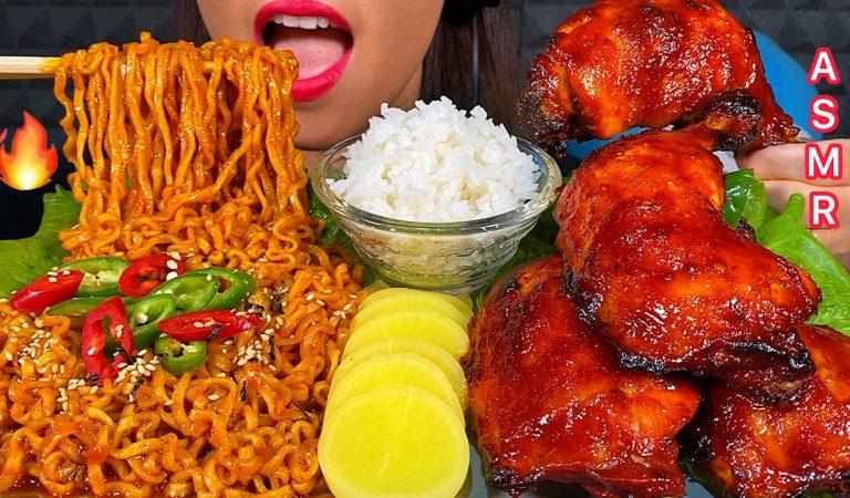 ASMR EATING SAMYANG FIRE NOODLES BBQ CHICKEN PICKLED RADISH HOT CHILLI & RICE 먹방 Real Sounds