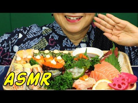ASMR • My Hometown's New Sushi/Sashimi Restaurant • Eating Sounds • No Talking & Whisper • Nana Eats