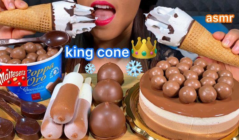 ASMR MALTESERS TRIPLE CHOCOLATE MOUSSE CAKE, KINDER ICE CREAM, CORNETTO KING CONE Eating Sounds