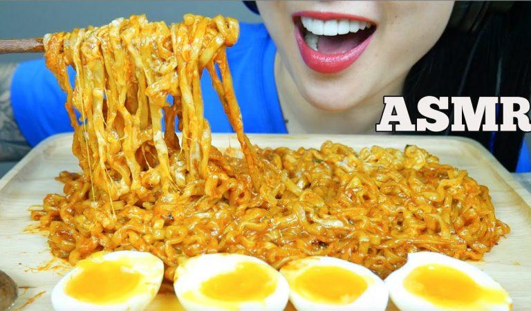 ASMR CHEESY SAMYANG SPICY NOODLES + SOFT BOIL EGGS (EATING SOUNDS) NO TALKING | SAS-ASMR