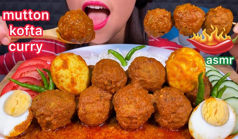 ASMR EATING SPICY MUTTON KOFTA CURRY EGGS HOT CHILLI & RICE 먹방 Mukbang Real Sounds