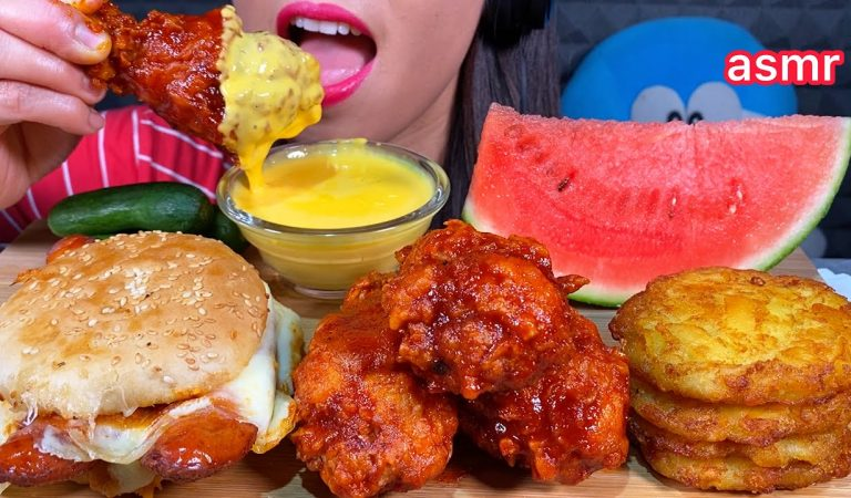 ASMR EATING CHEESY SAUSAGE SANDWICH SPICY FRIED CHICKEN HASH BROWN & WATERMELON 먹방 Sounds