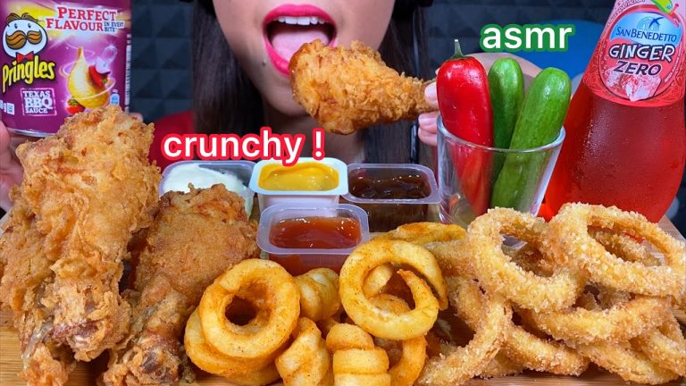 Asmr Crunchy Eating Fried Chicken Onion Rings Curly Fries Pringles Chilli Cucumber ˨¹ë°© Sounds Asmrhd Asmr mozzarella onion rings mukbang 먹방 (cooking & eating sounds) check out my instagram bon appétit! asmr crunchy eating fried chicken onion